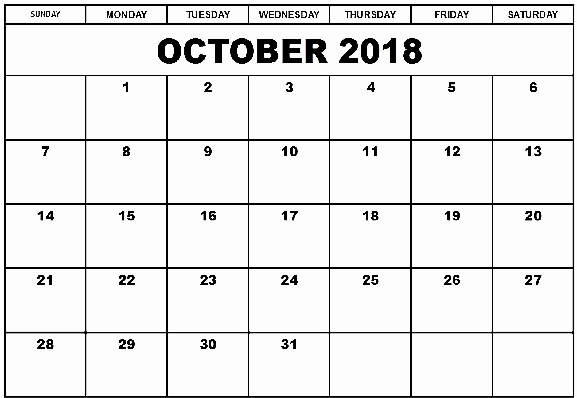 October 2018 Printable Calendar Word Best Of October 2018 Calendar Word