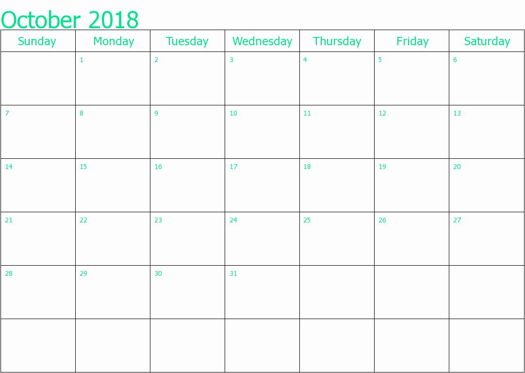 October 2018 Printable Calendar Word Elegant October 2018 Calendar Word