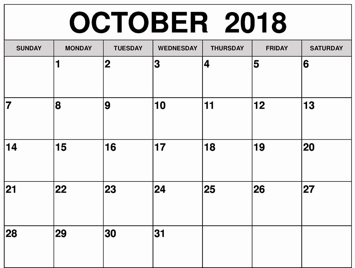 October 2018 Printable Calendar Word Fresh August 2018 Calendar Pdf