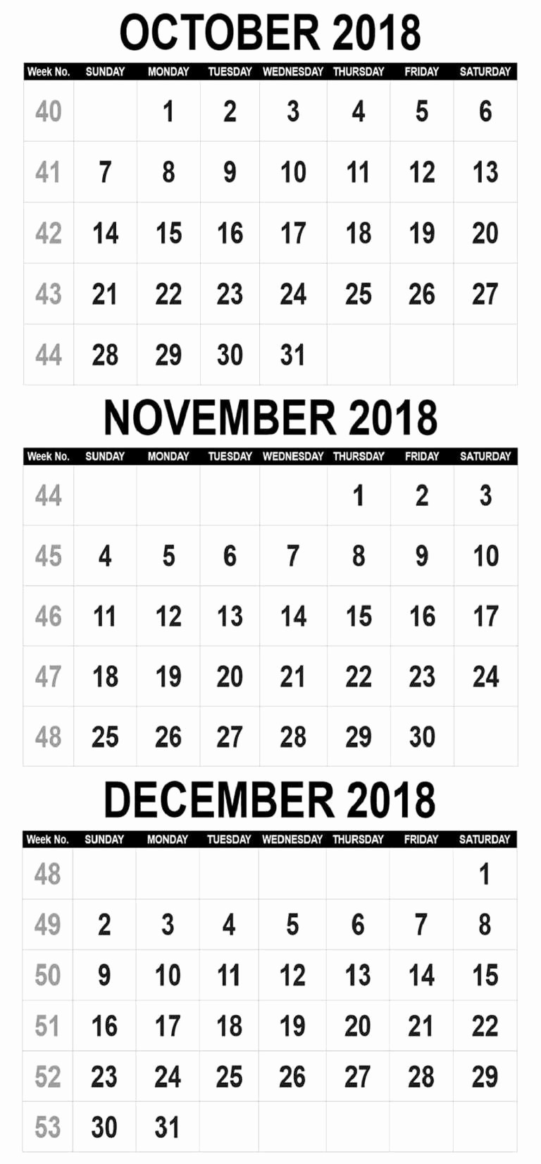 editable october 2018 calendar word