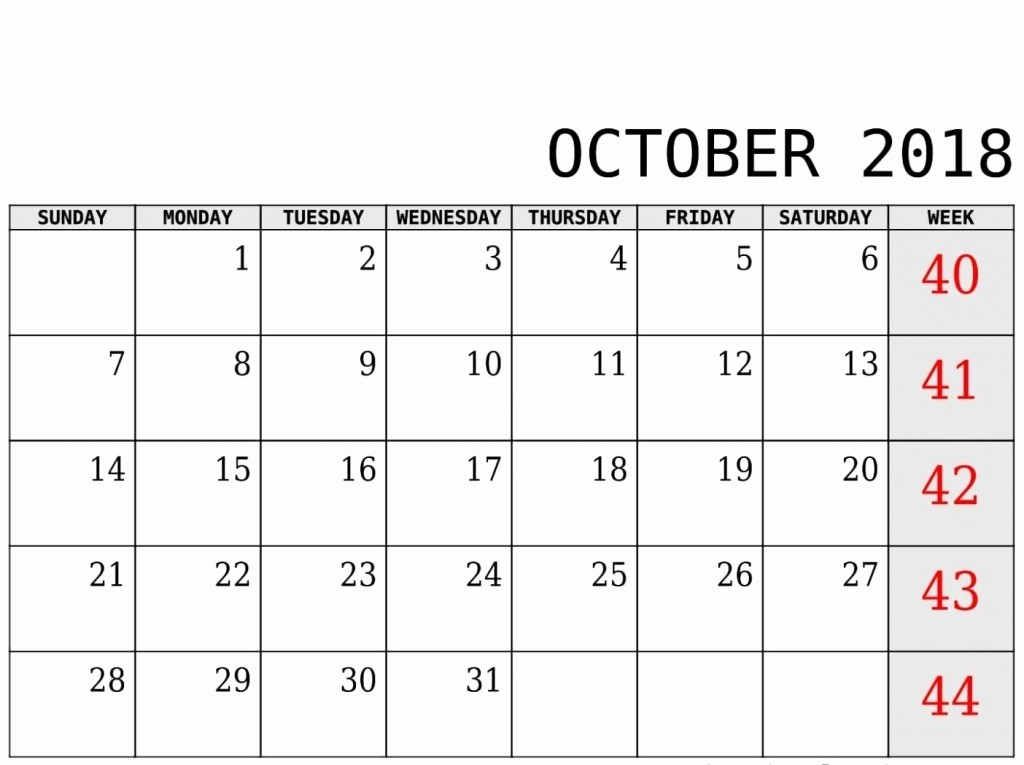 October 2018 Printable Calendar Word Fresh October 2018 Calendar Word Excel Pdf
