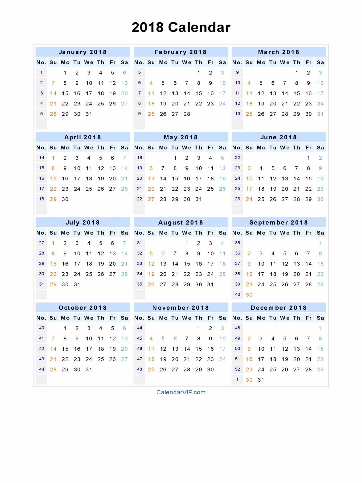 October 2018 Printable Calendar Word Inspirational 2018 Calendar Word
