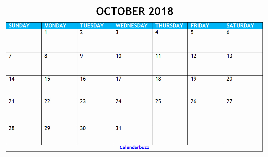 October 2018 Printable Calendar Word Inspirational October 2018 Calendar Printable Templates