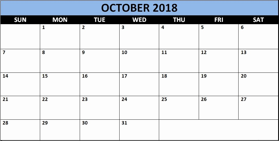 October 2018 Printable Calendar Word Inspirational October 2018 Calendars for Word Excel & Pdf