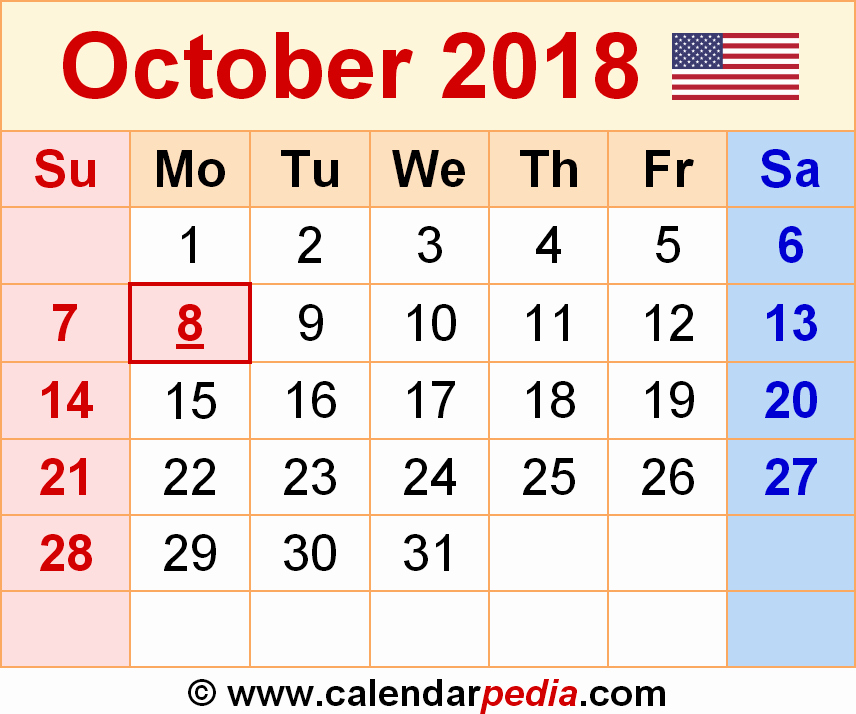 October 2018 Printable Calendar Word Lovely October 2018 Calendar Word