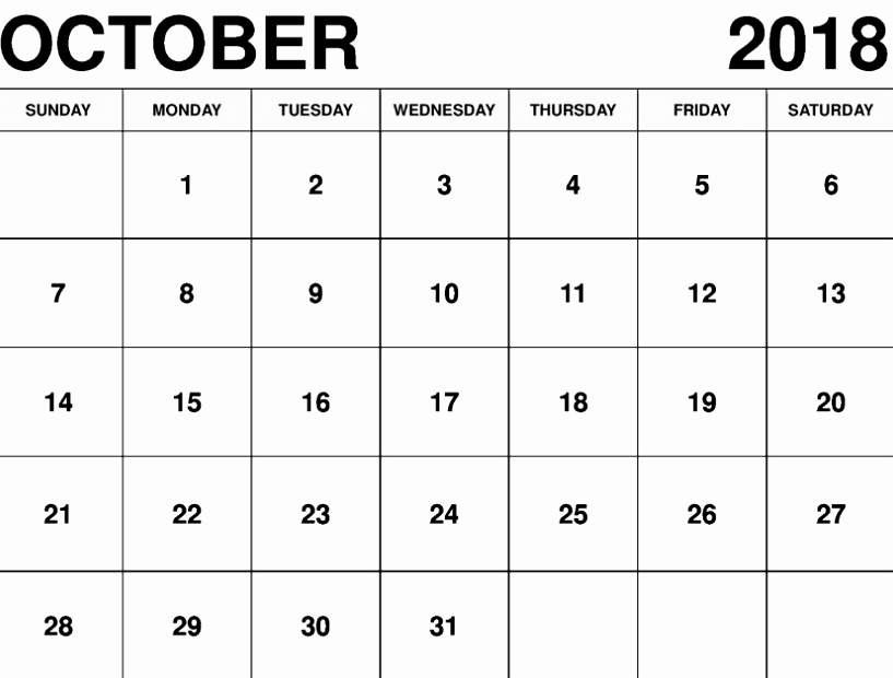 October 2018 Printable Calendar Word Luxury October 2018 Calendar Word