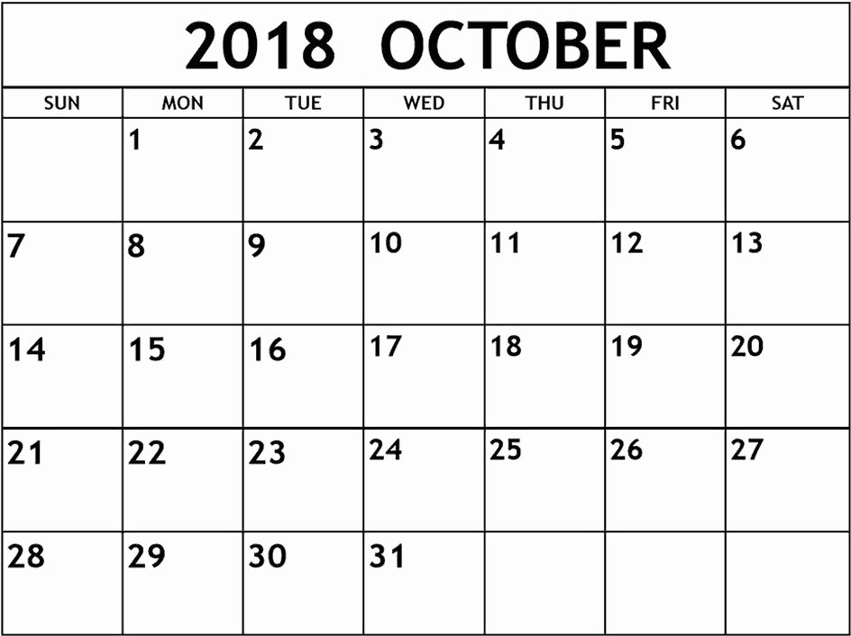 October 2018 Printable Calendar Word Luxury October Calendar 2018 Word – Printable 2018 Calendar