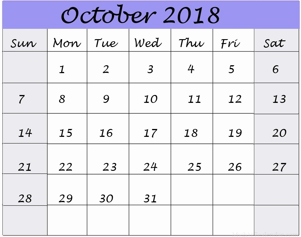 October 2018 Printable Calendar Word Luxury Printable October 2018 Calendar Word Free