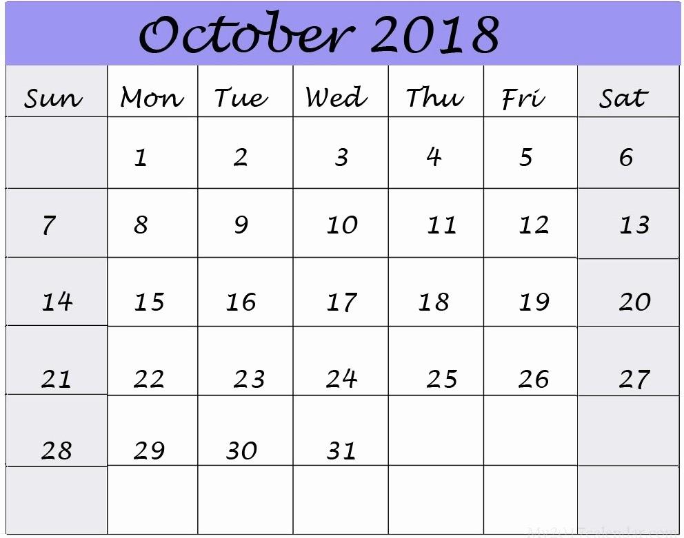 October 2018 Printable Calendar Word Luxury Printable October 2018 Calendar Word Free