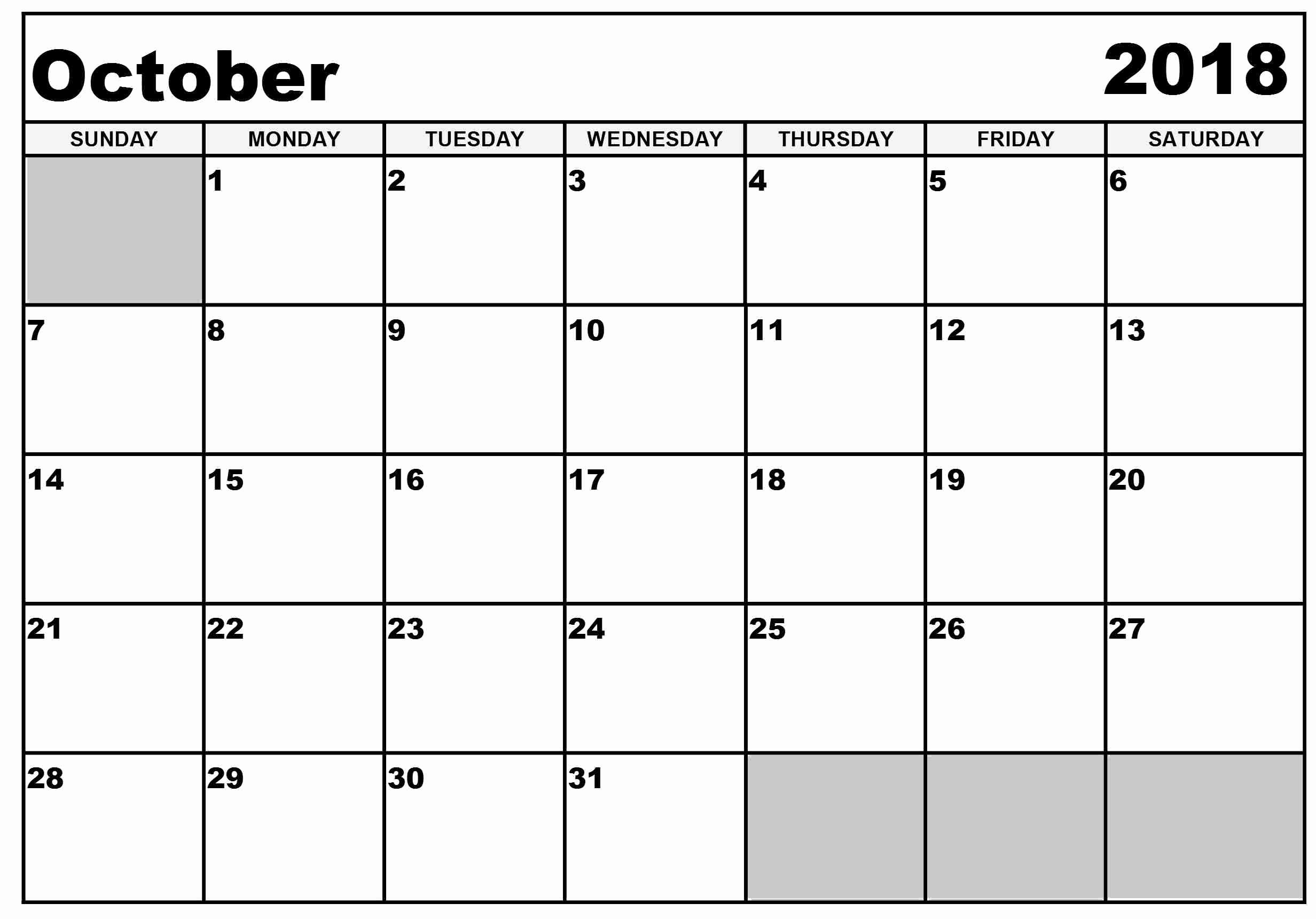 October 2018 Printable Calendar Word New Free Printable Calendar October 2018 Word – Free Printable