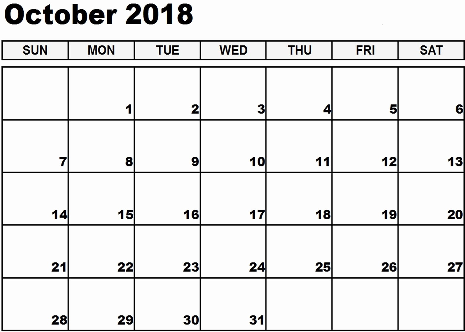 October 2018 Printable Calendar Word New Free Printable Calendar October 2018 Word – Printable 2018