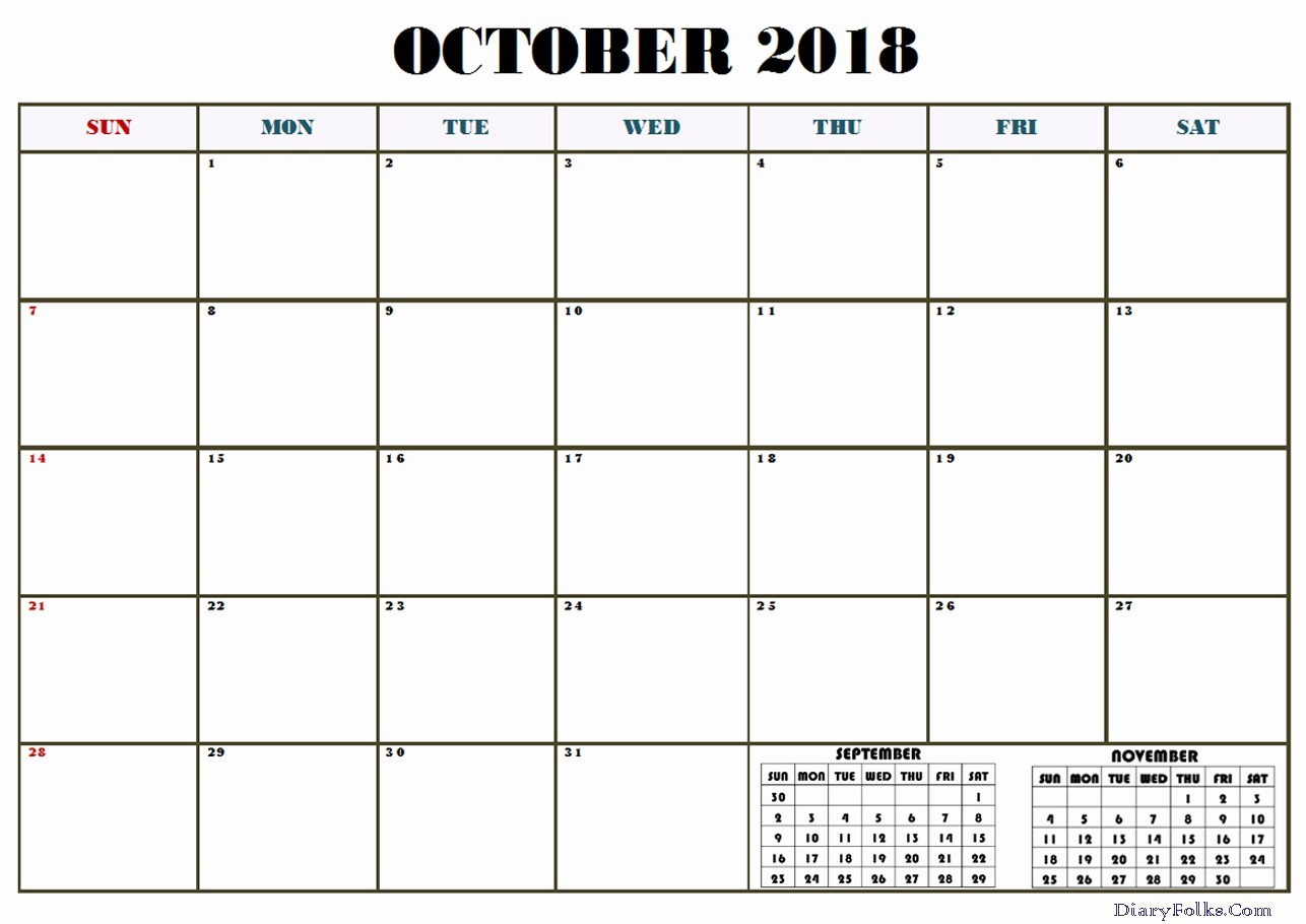 October 2018 Printable Calendar Word New October 2018 Calendar Word Printable Letter & Calendar