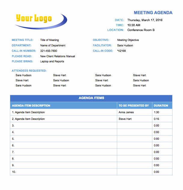 Off Site Meeting Agenda Template Awesome Free Meeting Agenda Templates Smartsheet