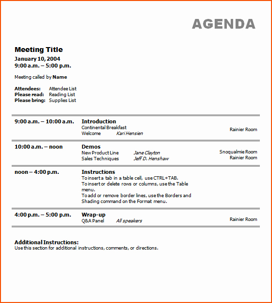 Off Site Meeting Agenda Template Inspirational 7 Free Meeting Agenda Template Bookletemplate