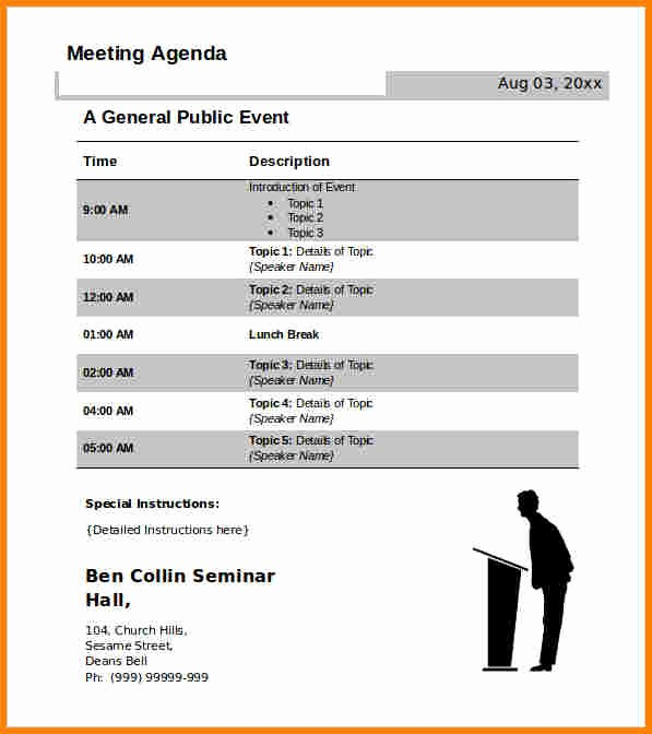 Off Site Meeting Agenda Template Inspirational 7 Free Meeting Agenda Template