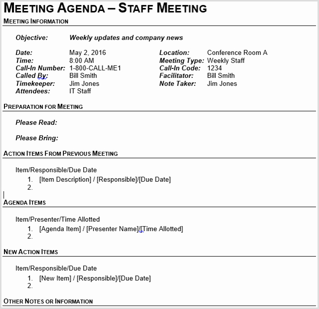 Off Site Meeting Agenda Template Lovely 15 Best Meeting Agenda Templates for Word