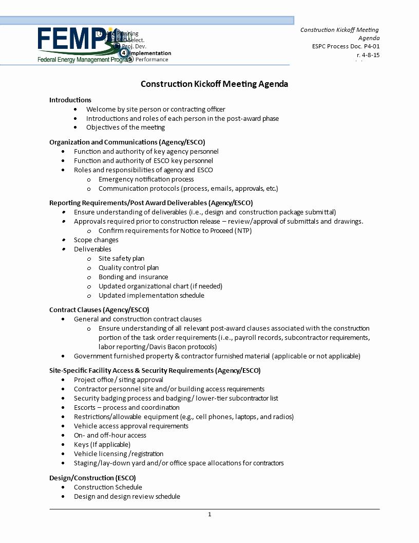 Off Site Meeting Agenda Template Luxury Free Construction Kick F Meeting Agenda