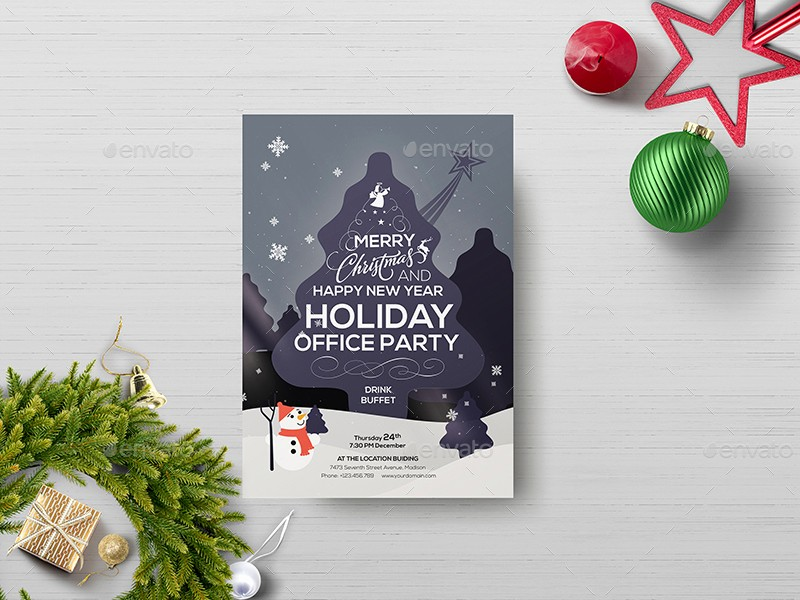 Office Christmas Party Flyer Templates Lovely Fice Holiday Party Flyer Template by Wutip2