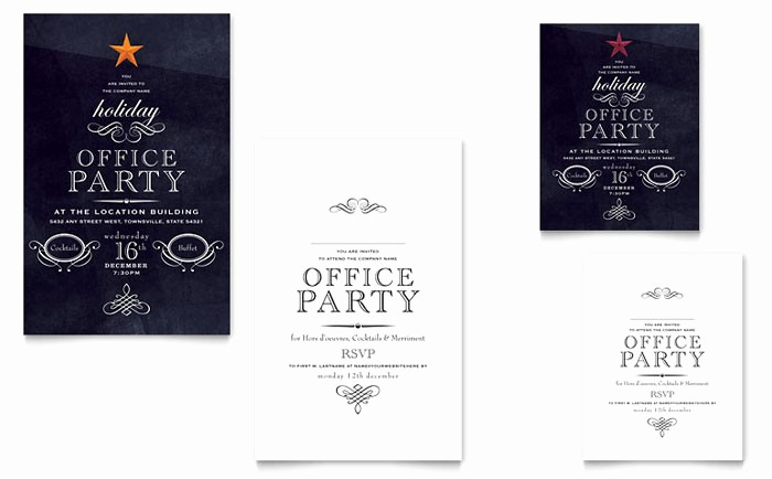 Office Christmas Party Flyer Templates Luxury Fice Holiday Party Note Card Template Design