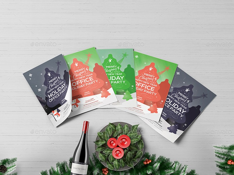 Office Christmas Party Flyer Templates New Fice Holiday Party Flyer Template by Wutip2
