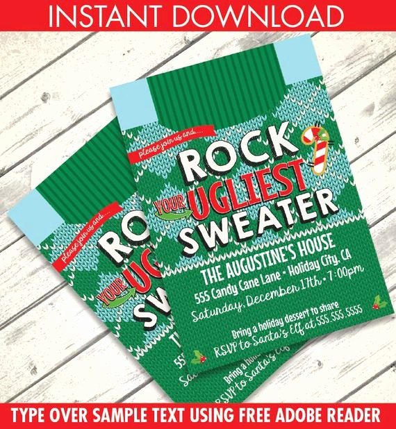 Office Christmas Party Free Download Beautiful Christmas Ugly Sweater Party Invitation Holiday Sweater