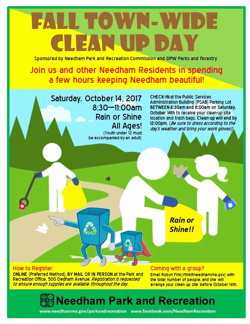 Office Clean Up Day Flyer Luxury Needham town Wide Clean Up Day Sat Oct 14th – Green Needham