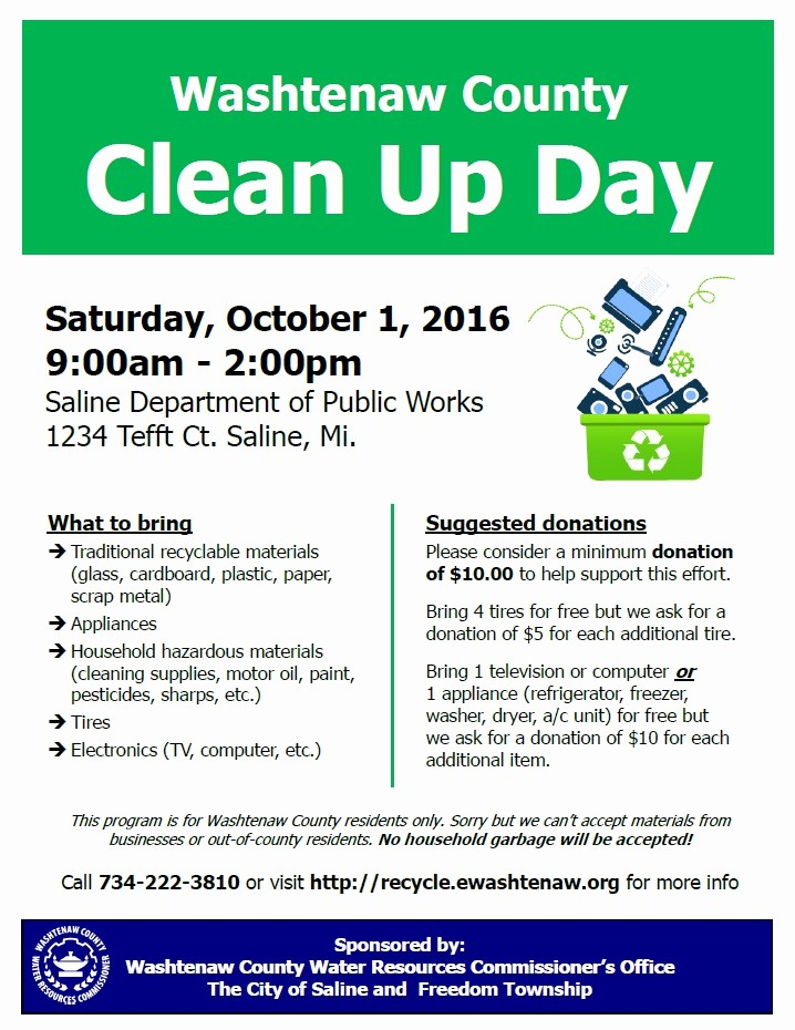 Office Clean Up Day Flyer New County Clean Up Day Saturday October 1st Saline Drop