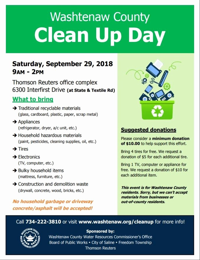 Office Clean Up Day Flyer New Saline Washtenaw County Clean Up Day – Drop F – New