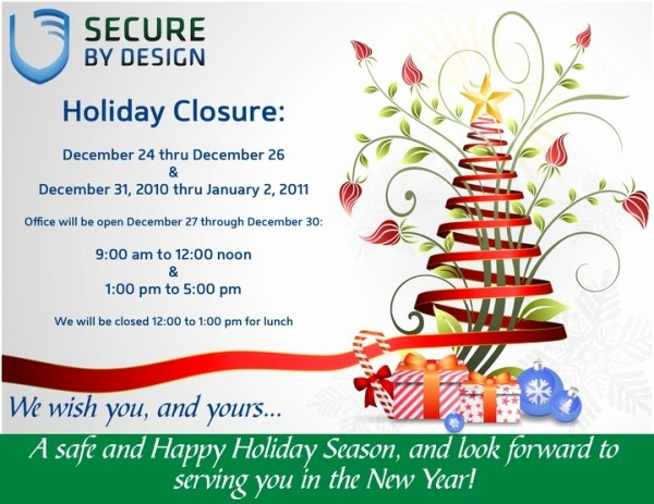 Office Closed for Holiday Sign Beautiful Secure by Design Blog Archive Christmas & New Years