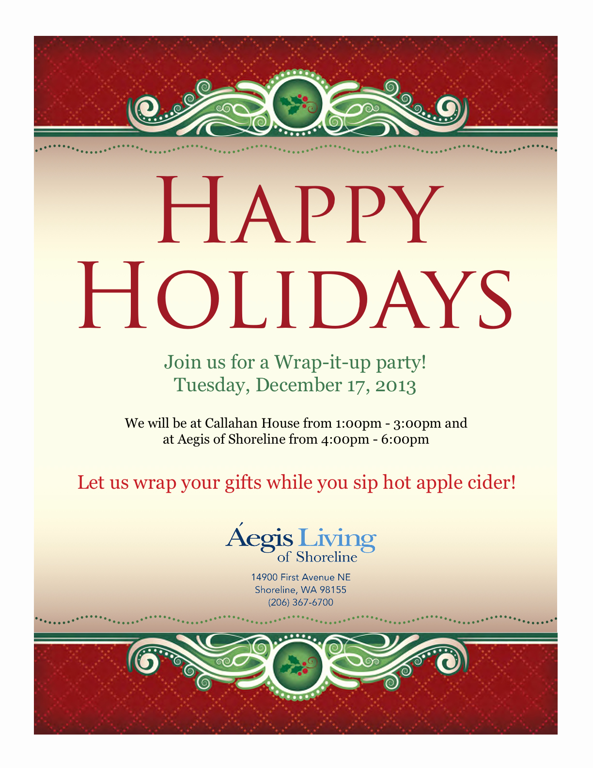 Office Closed for Holiday Sign Inspirational Shoreline area News Wrapping Party at Aegis Of Shoreline