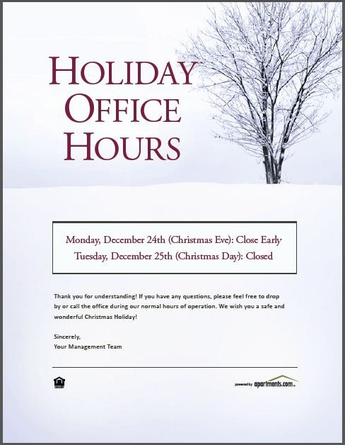 Office Closed for Holiday Sign New Happy Holidays From Apartments