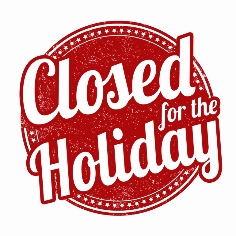 Office Closed for Holiday Sign New Tribal Operations Closed for Labor Day Holiday