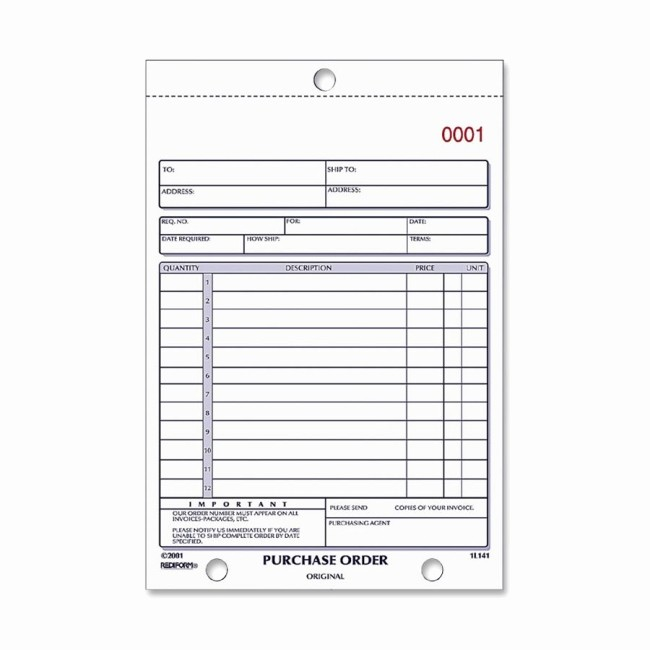 Office Depot Fax Cover Sheet New Rediform 1l140 Purchase order form 50 Sheet S 2 Part