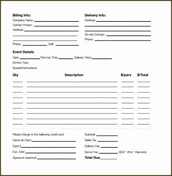 Office Lunch Order Form Template Awesome Catering Order Form
