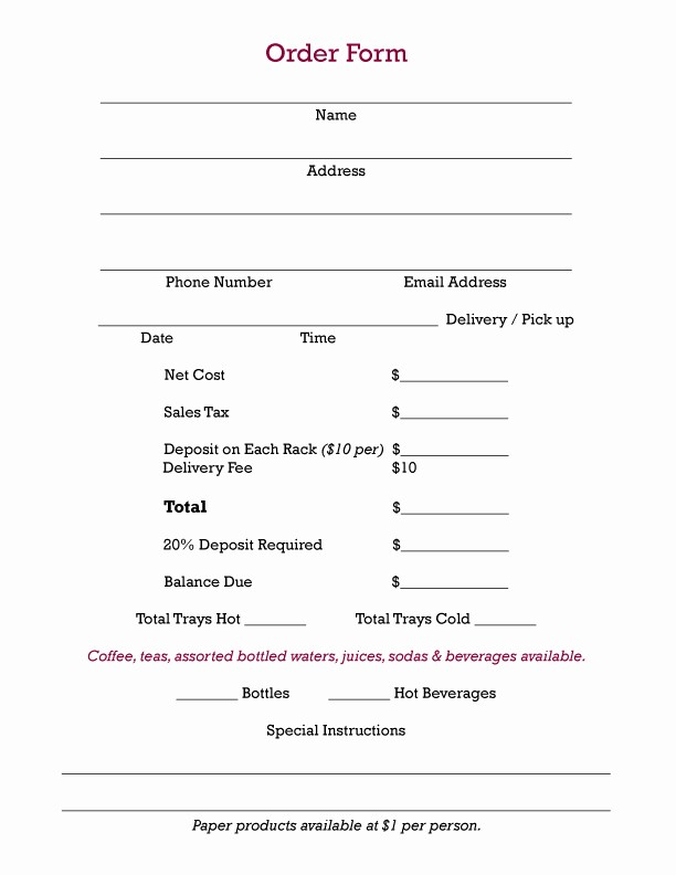 Office Lunch order form Template Beautiful Chow284 Bar & Restaurant Holiday Catering Get Your