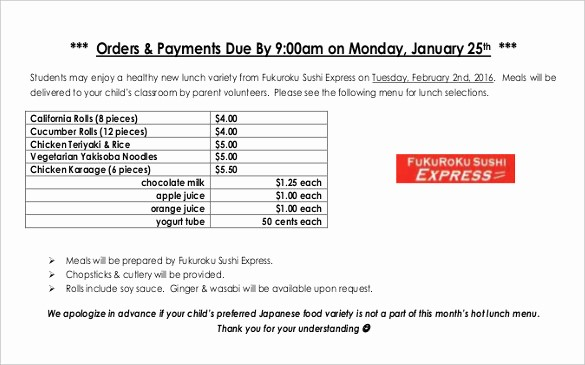 Office Lunch order form Template Fresh 18 Food order Templates – Free Sample Example format