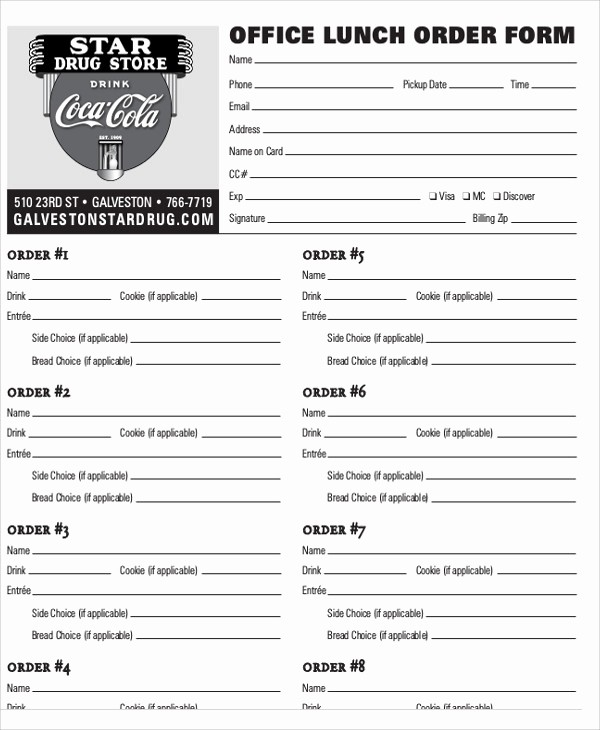 Office Lunch order form Template Lovely Fice Lunch order form Template Image Collections