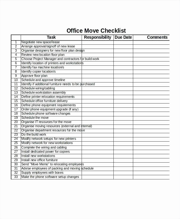 Office Move Checklist Template Excel Awesome Fice Move Checklist Template Excel Free Moving Checklist