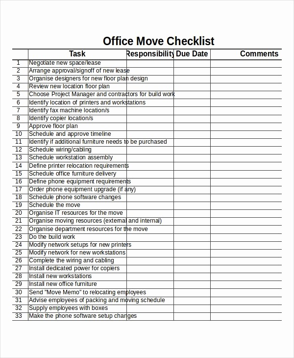 Office Move Checklist Template Excel Lovely Checklist Template 19 Free Word Excel Pdf Documents