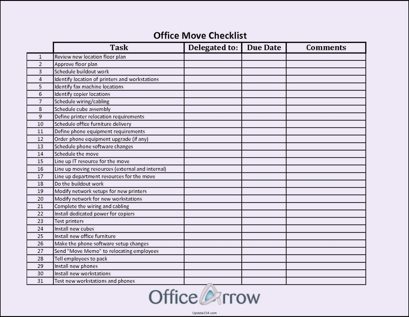 Office Move Checklist Template Excel New Fice Move Checklist Template Excel Template Update234