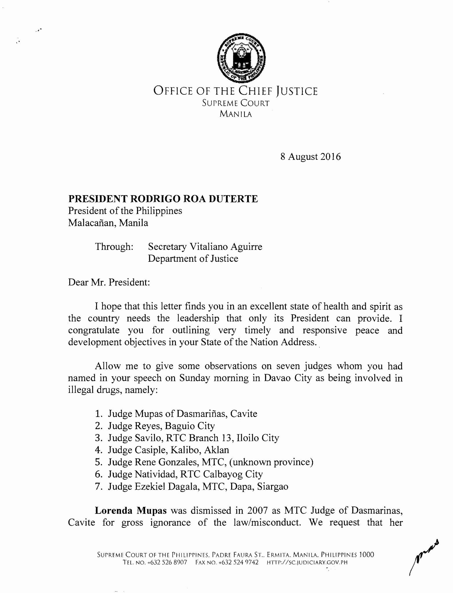 "Office Of the President Letterhead Inspirational Inquirer On Twitter ""read Sc Cj Sereno S Letter to Pres"