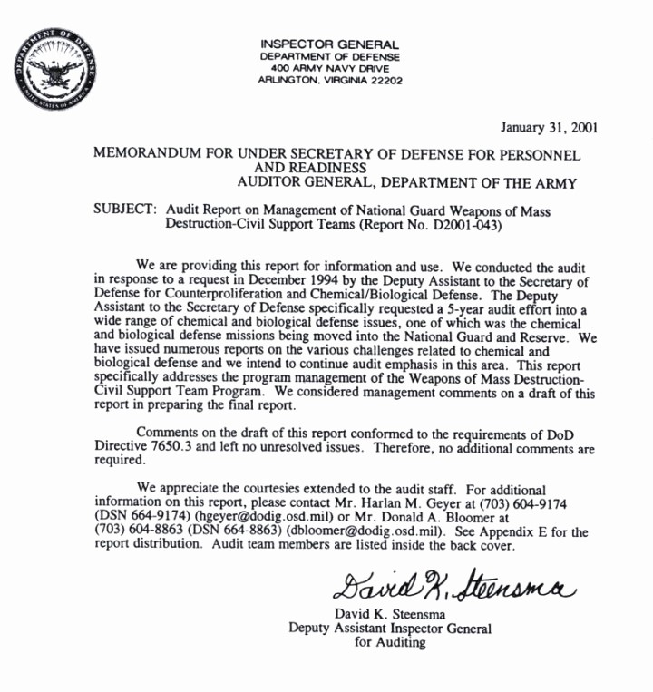 Office Of the President Letterhead Luxury Management Of National Guard Weapons Of Mass Destruction