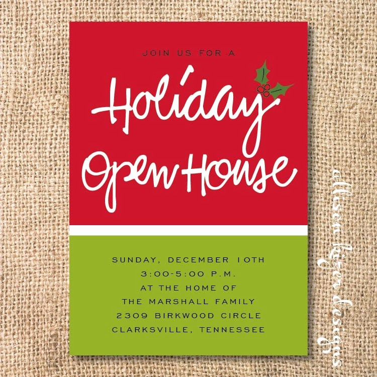 Office Open House Invitation Wording Awesome Holiday Open House Printable Invitation