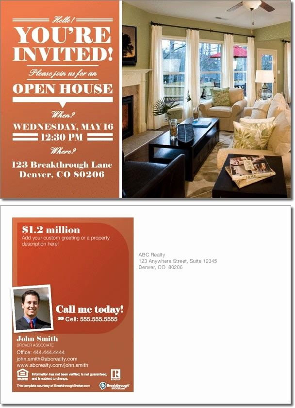 Office Open House Invitation Wording Awesome Realestate Open House Invitation Postcard