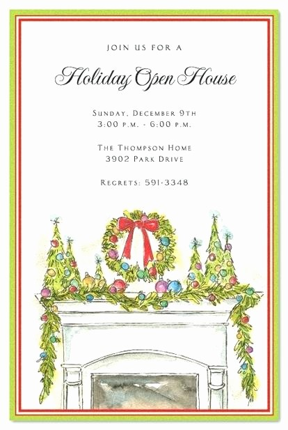 Office Open House Invitation Wording Elegant Holiday Open House Invitations Festive Fireplace