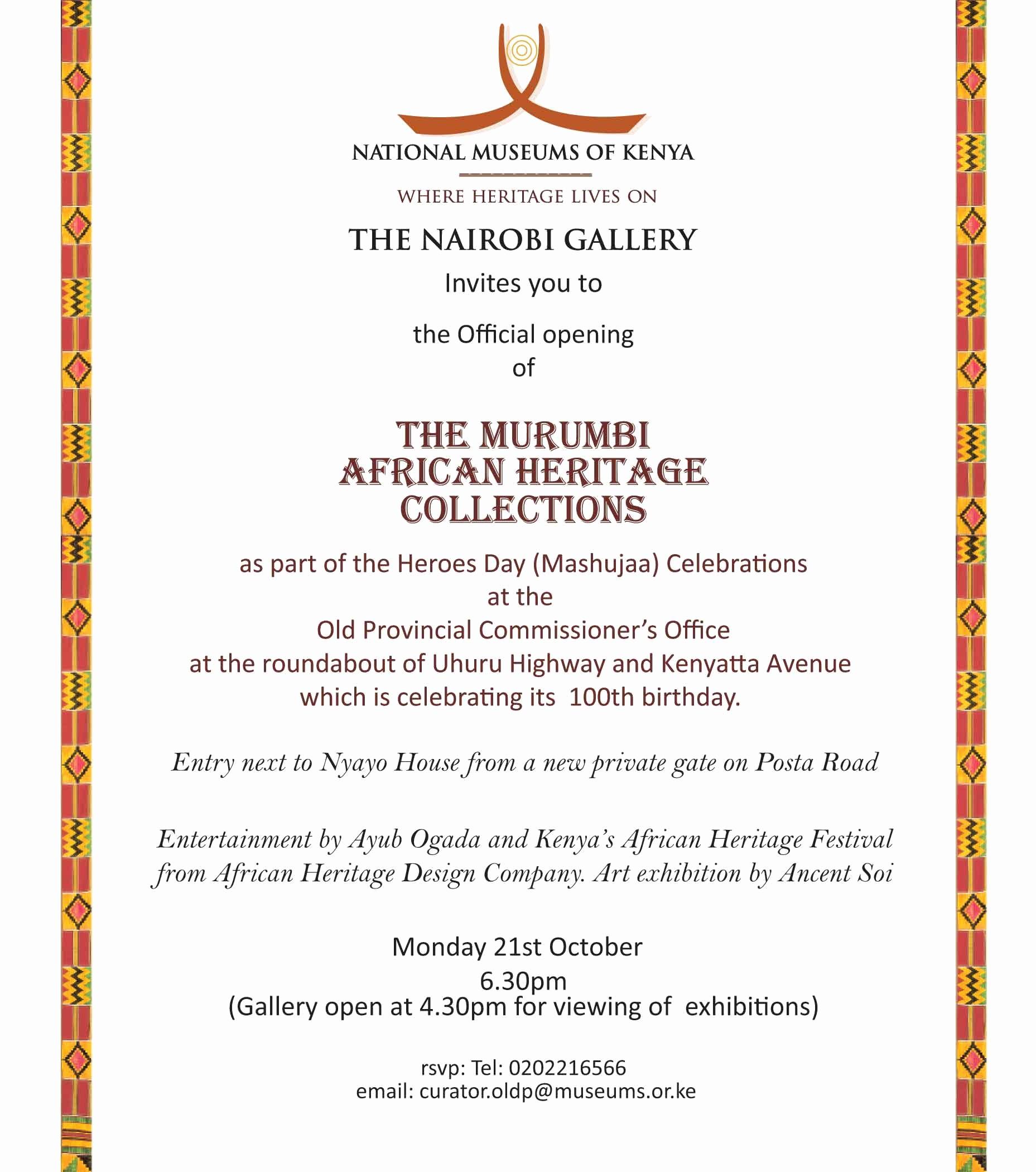 Office Open House Invitation Wording Luxury Opening the Murumbi African Heritage Collections Oct 21
