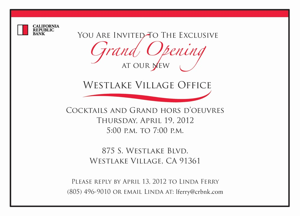 Office Open House Invitation Wording Luxury the Gallery for Bank Grand Opening Invitation
