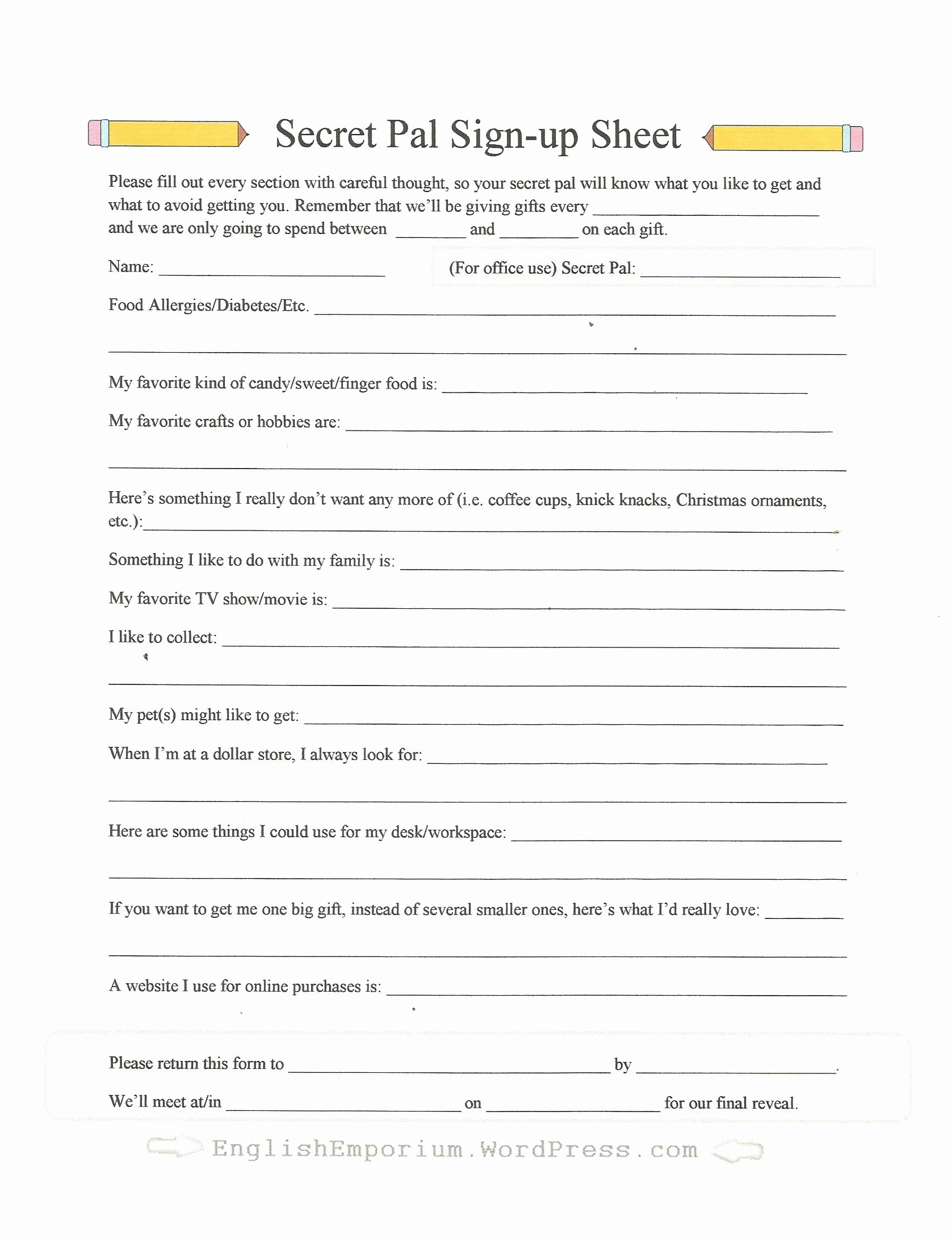 Office Secret Santa Questionnaire Templates Best Of Secret Santa or Silly Santa