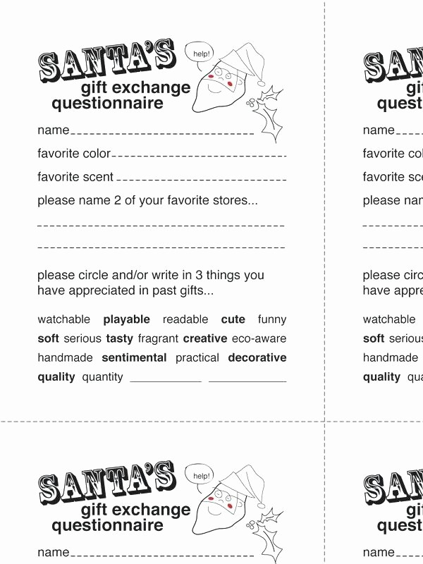 Office Secret Santa Questionnaire Templates Lovely Secret Santa Sign Up Sheet Printable Wish List Template