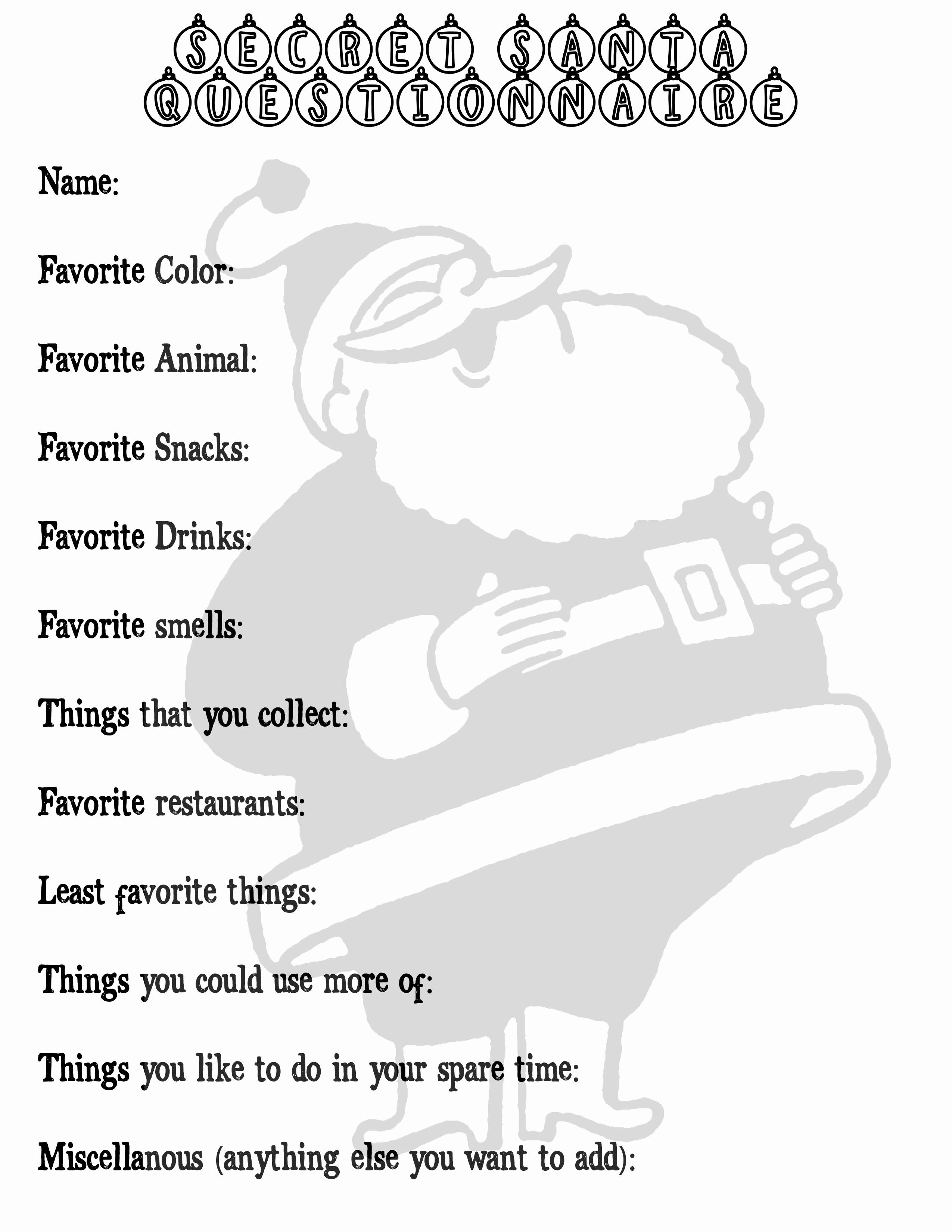 Office Secret Santa Questionnaire Templates New Secret Santa Questionnaire Printable Printable Pages